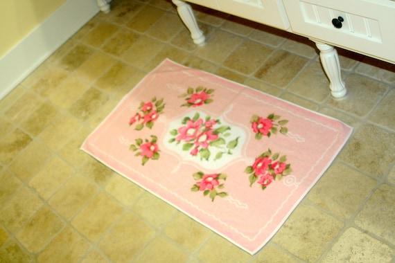vintage pink floral terry cloth bath mat by jorzolinio linens. Black Bedroom Furniture Sets. Home Design Ideas