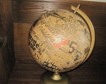Vintage Globe Decoupaged  - Antique Newspaper 1920s/1930s - Display Art Piece