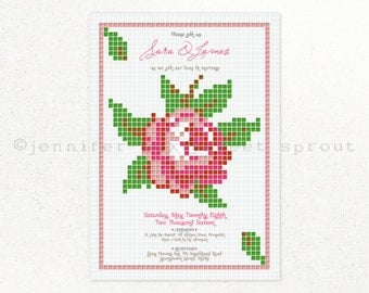 Cross Stitch Rose UNIQUE WEDDING INVITATION