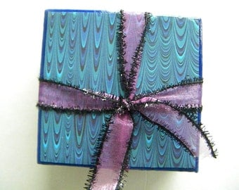 Blue's Abstract Set of 4 Drink Coasters Wedding or Bridal Shower Gift Idea!