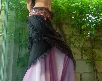 Bohemian 2-Layer Lace Wrap Skirt Hip Scarf Medium - Black - Belly Dance / Festival
