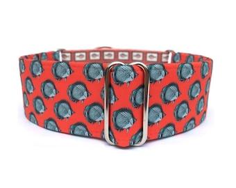 "Red Fish Dog Collar - 1"" or 1.5"" Pop Art Fish Martingale Collar or Adjustable Buckle Dog Collar"