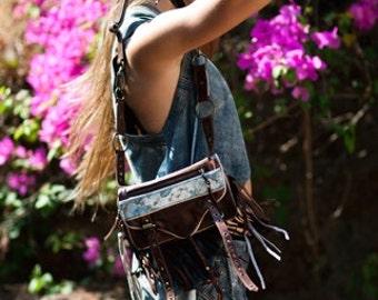 Leather handbag, leather hip bag, brown leather boho bag, leather purse, brown leather hassle bag