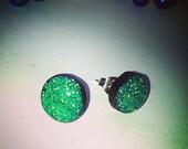 Bold Glitter Resin Post Earrings