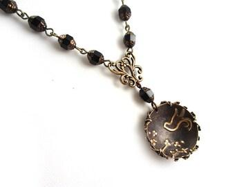 Bohemian Necklace - Cherry Blossom Pendant - Boho Beaded Necklace - Vintaj Necklace - Oxidized Brass - Brass Filigree Necklace - Black Czech