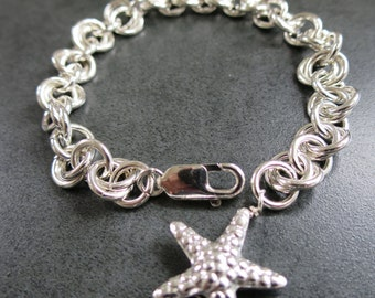 Bracelet Sterling  Silver Round Links Starfish