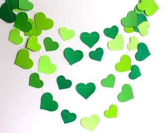 Green heart garland, ombre green wedding shower decor, St Patricks day garland, spring green paper garland, bridal shower decor, photo prop