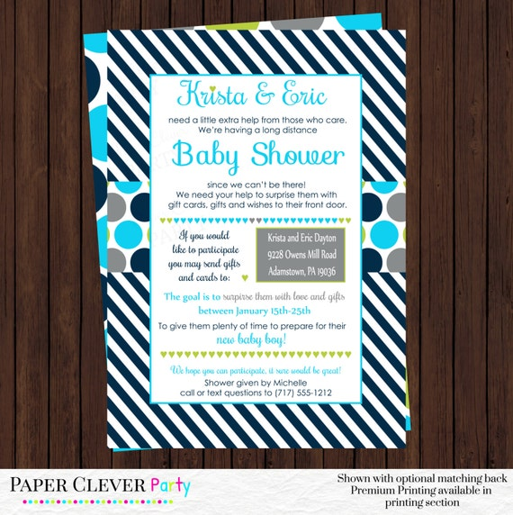 baby boy long distance shower invitations classic navy stripe in aqua