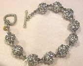 8mm silver beaded beads 4mm silver bicone crystals twisted heart toggle clasp 7 and half inch FREE SHIPPING USA orders