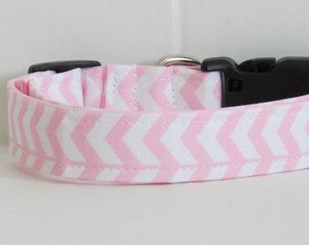 Pink Dog collar, shabby chic dog collar, handmade dog collar, dog accessory, wedding dog collar, zig zag dog collar