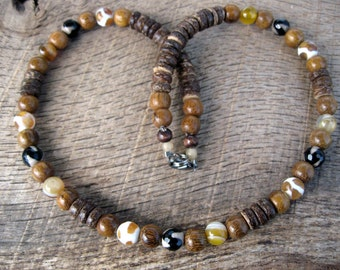 Mens surfer necklace, fire etched agate dzi, banded agate, wood and coconut shell beads, handmade, natural materials, tribal, one of a kind