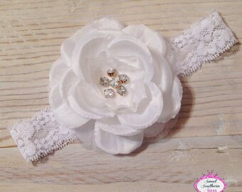 White Flower Headband - Lace Headband