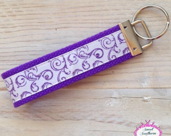 Purple Swirl Key Chain - Key Fob