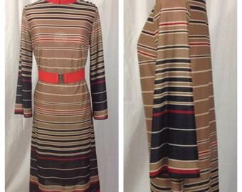 Camel Stripe Dress 1970s M/L