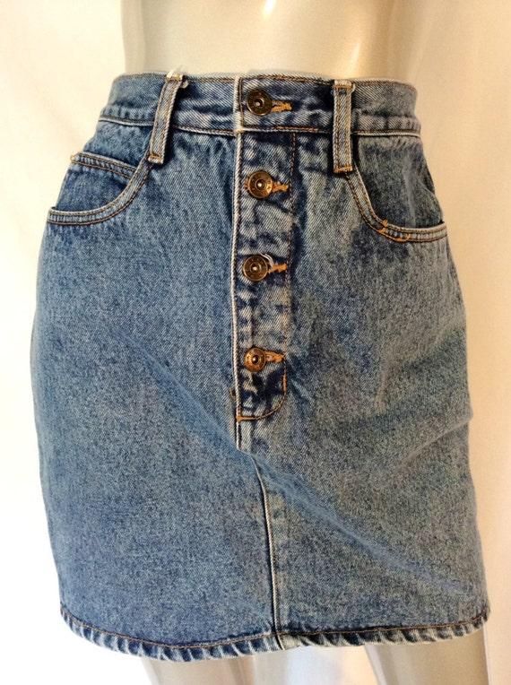 vintage high waisted denim jean skirt 90 s