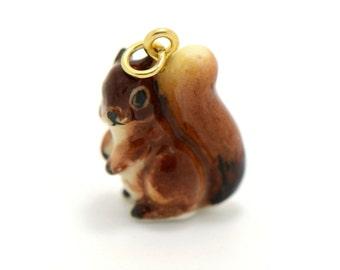 Miniature Ceramic Squirrel Glass Terrarium Glass Filler Hand Painted Porcelain Charm Terrarium Supplies Jewelry Making Supplies (AT121)
