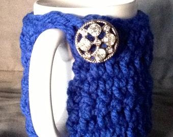 Tall Royal blue chunky yarn mug hug with vintage bling button
