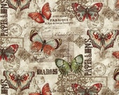 LAST 1/2 yd REMNANT - Benartex Fabric - French Quarter - Papillon - Multi on Natural