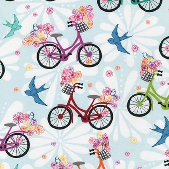 NEW - Robert Kaufman - Ashton Road - Retro Girl's Bikes - Blue - Valori Wells - Choose Your Cut 1/2 or Full Yard