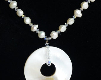 Freshwater Pearls, Crystals & Shell Handstrung Pendant