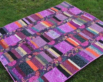 Purple String Quilt, Large Lap in Orange, Black and Green