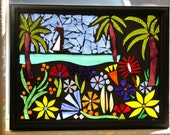 Island vacation, glass on glass mosaic, whimsical,