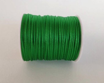 bright green Rattail Cord, Knotting cord, 2.5 mm  Satin cord, Beading cord, Jewelery supplies, cord for bracelet , 10 meters ( 11 yards )