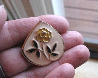Vintage enamel brooch.  Floral.  Signed.
