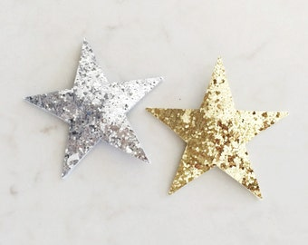 Glitter Star Hair Clips - Gold, Silver, Bronze Star Clips - 2 Snap Clips - Choose Your Colors