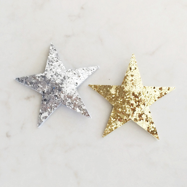 Glitter Star Hair Clips Gold Silver Bronze Star Clips 2