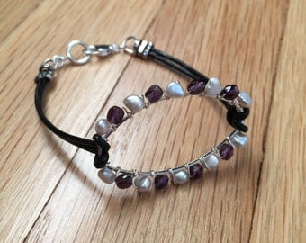 Tanzanite and Pearl Leather Bracelet