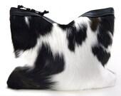 Calico Calf Hair & Leather Statement Clutch | Cow Print Clutch | Black + White | Hair On | Cowhide | Handbag | Fur Clutch | Handmade