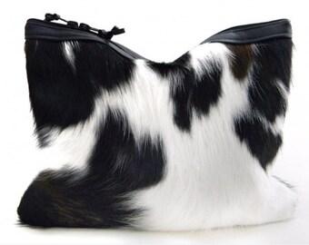 1 LEFT! Calico Calf Hair & Leather Statement Clutch   Cow Print Clutch   Black + White   Hair On   Cowhide   Handbag   Fur Clutch   Handmade