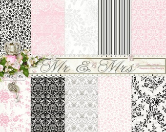 Mr and Mrs Patterned Paper Set