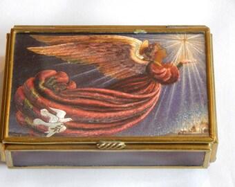 Vintage Angel Box Trinket Holder Small Jewelry Box  Religious Home Decor