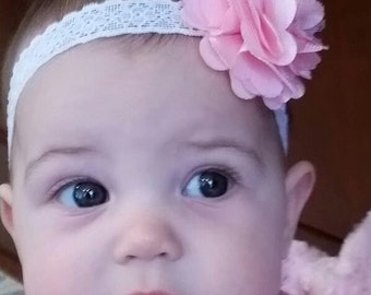 Baby Pink Satin & Mesh Flower Headband - Small Satin Flower - Baby Girl Headband - Pink Headband - Girls White Lace Headband - Photo Prop