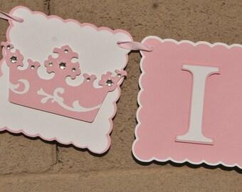Princess 1st  Birthday Highchair Banner, Party Sign, HAPPY BIRTHDAY, Birthday Decoration.