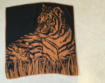 Vintage Vera Scarf Large Tiger Design Vera Neumann Designer Scarf Shawl Made in Japan Oversized Art Scarf