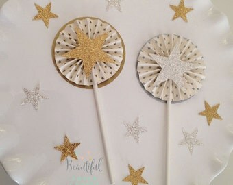 Twinkle Twinkle Little Star Cupcake Toppers | Gold Glitter Stars | Silver Glitter Stars | Twinkle Twinkle Little Star Baby Shower
