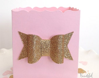 Pink and Gold Baby Shower Favor Box || Gold Glitter Bow || Pink Favor Boxes || Pink and Gold Birthday || First Birthday Decor