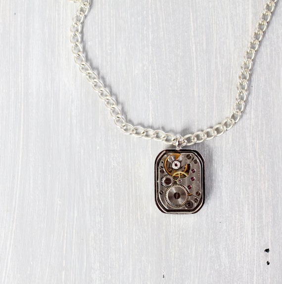 Watch Movement  Necklace - Steampunk Pendant - Watch  Necklace - Steampunk Jewelry