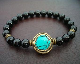 Tibetan Turquoise Mala Bracelet - Turquoise, Onyx Mala Bracelet - Yoga, Buddhist, Meditation, Prayer Beads, Jewelry