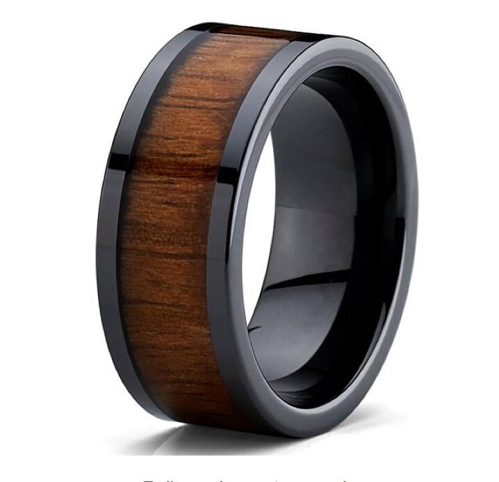 Popular Man Bands: Mens Koa Wood Wedding Band Rings 9mm Flat Top Black Ceramic