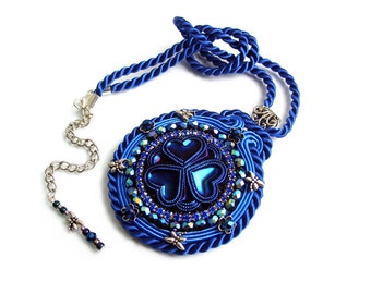 Soutache statement pendant - elegant, bold and unusual - unique handmade jewelry - Blue Hearts