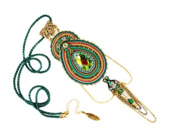 HIT !!! Exclusive exotic far estern bollywood soutache pendant, elegant and shinny, hand made embroidery jeweley - Scheherezade
