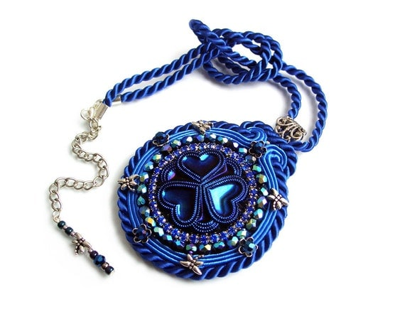 Soutache statement pendant - elegant, bold and unusual - unique handmade jewelry - Blue Hearts