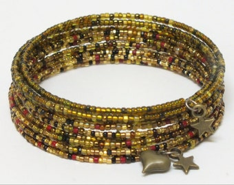 Sparkling silver,gold,black,red memory wire bracelet