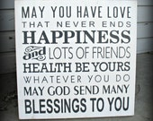 Blessings To You --  Hand Painted Wooden  Subway Typography 18 x 18 sign