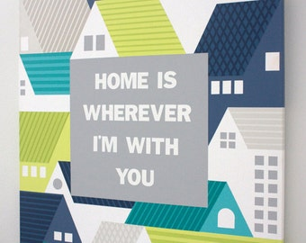 """Home - 18"""" x 24"""" Handpainted on Canvas in Teal, Blue and Lime Green"""