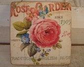 vintage,roses garden,traditional English roses,image sealed onto wood,decorative hanging tag